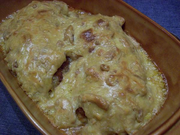Zwiebel käseschnitzel im ofen überbacken